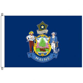 SF-812-MAINE Maine 8' x 12' Nylon Flag with Rope and Thimble-0