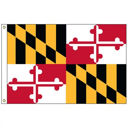 SF-103P-MARYLAND Maryland 3' x 5' 2-ply Polyester Flag with Heading and Grommets-0