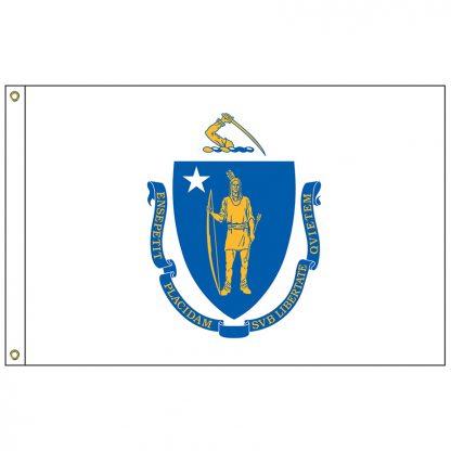 SF-104P-MASSACHUSETT Massachusetts 4' x 6' 2-ply Polyester Flag with Heading and Grommets-0