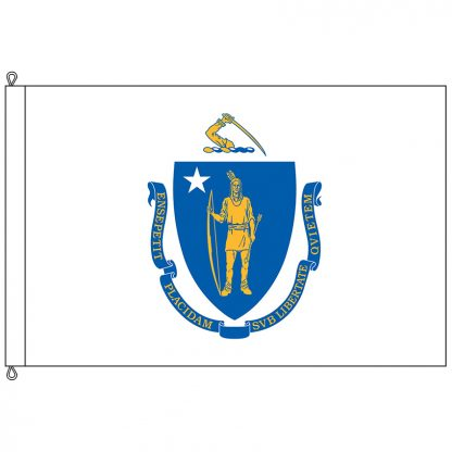 SF-1218-MASSACHUSETT Massachusetts 12' x 18' Nylon Flag with Rope and Thimble-0