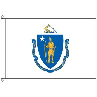 SF-812-MASSACHUSETTS Massachusetts 8' x 12' Nylon Flag with Rope and Thimble-0