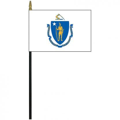 """MRF-46-MASSACHUSETTS Massachusetts 4"""" x 6"""" Staff Mounted Rayon-0"""