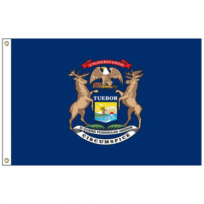 "SF-101-MICHIGAN Michigan 12"" x 18"" Nylon Flag with Heading and Grommets-0"