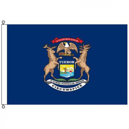 SF-1218-MICHIGAN Michigan 12' x 18' Nylon Flag with Rope and Thimble-0