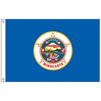 SF-105P-MINNESOTA Minnesota 5' x 8' 2-ply Polyester Flag with Heading and Grommets-0