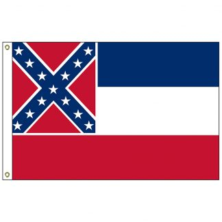 SF-103P-MISSISSIPPI Mississippi 3' x 5' 2-ply Polyester Flag with Heading and Grommets-0