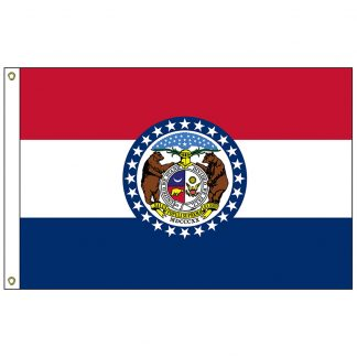 "SF-101-MISSOURI Missouri 12"" x 18"" Nylon Flag with Heading and Grommets-0"