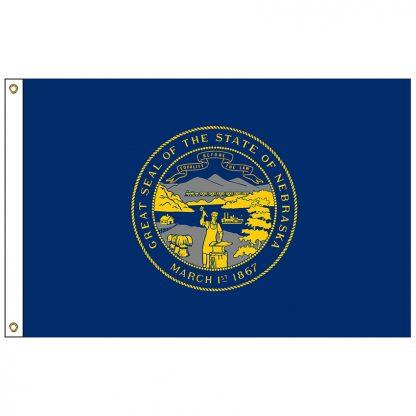 SF-103P-NEBRASKA Nebraska 3' x 5' 2-ply Polyester Flag with Heading and Grommets-0