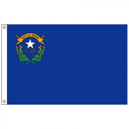 SF-103P-NEVADA Nevada 3' x 5' 2-ply Polyester Flag with Heading and Grommets-0