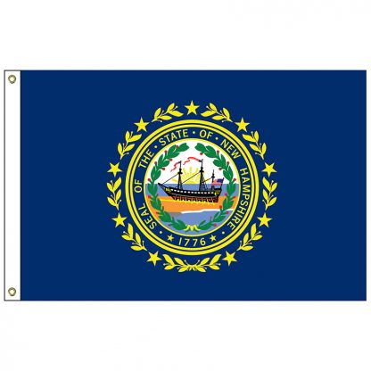 "SF-101-NEWHAMPSHIRE New Hampshire 12"" x 18"" Nylon Flag with Heading and Grommets-0"