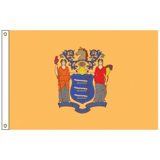 "SF-101-NEWJERSEY New Jersey 12"" x 18"" Nylon Flag with Heading and Grommets-0"