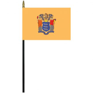 "MRF-46-NEW JERSEY New Jersey 4"" x 6"" Rayon Stick Flag-0"