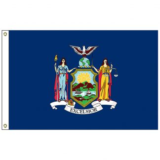 SF-103P-NEWYORK New York 3' x 5' 2-ply Polyester Flag with Heading and Grommets-0