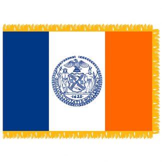 NYCPF-46 New York City 4' x 6' Nylon Indoor Flag with Pole Hem and Fringe-0