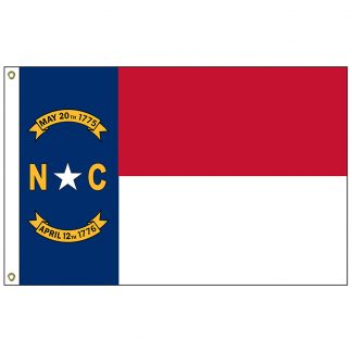 SF-103P-NORTHCAROLIN North Carolina 3' x 5' 2-ply Polyester Flag with Heading and Grommets-0