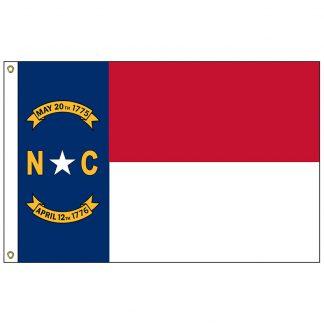 """SF-101-NCAROLINA North Carolina 12"""" x 18"""" Nylon Flag with Heading and Grommets-0"""