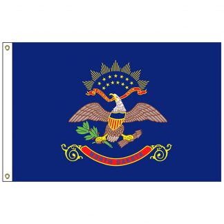 SF-103P-NORTHDAKOTA North Dakota 3' x 5' 2-ply Polyester Flag with Heading and Grommets-0