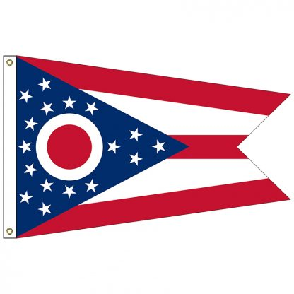 SF-103P-OHIO Ohio 3' x 5' 2-ply Polyester Flag with Heading and Grommets-0
