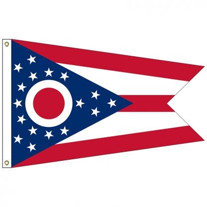 SF-102-OHIO Ohio 2' x 3' Nylon Flag with Heading and Grommets-0
