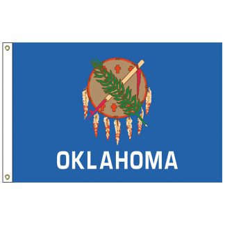 SF-105P-OKLAHOMA Oklahoma 5' x 8' 2-ply Polyester Flag with Heading and Grommets-0