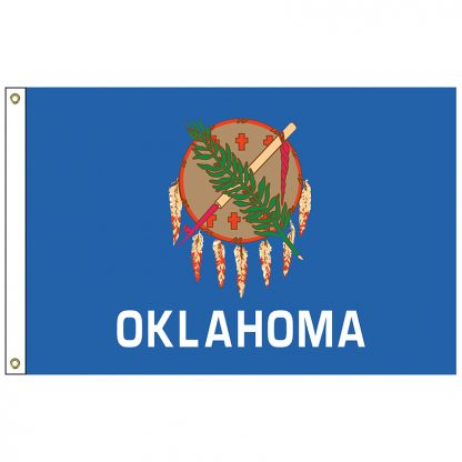 SF-103P-OKLAHOMA Oklahoma 3' x 5' 2-ply Polyester Flag with Heading and Grommets-0