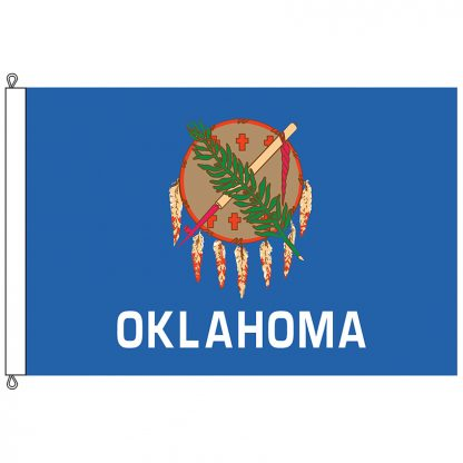 SF-1015-OKLAHOMA Oklahoma 10' x 15' Nylon Flag with Rope and Thimble-0