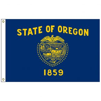 "SF-101-OREGON Oregon 12"" x 18"" Nylon Flag with Heading and Grommets-0"