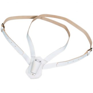 PCB-125 Double Strap Leather Carrying Belt, White-0