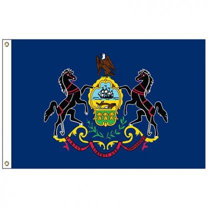 SF-106-PENNSYLVANIA Pennsylvania 6' x 10' Nylon Flag with Heading and Grommets-0