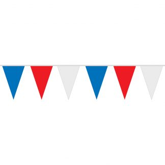 PS-30-B 30ft 4 Mil Polyethylene Red, White, and Blue Pennant String-0