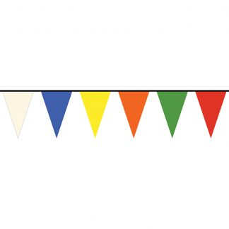 PS8-100-A 100' Multi-color 8 Mil Polyethylene Pennant Strings-0