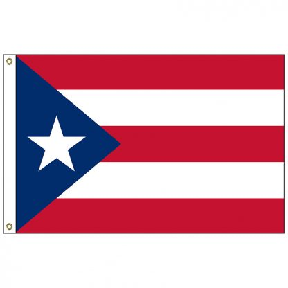 "SF-101-PUERTORICO Puerto Rico 12"" x 18"" Nylon Flag with Heading and Grommets-0"