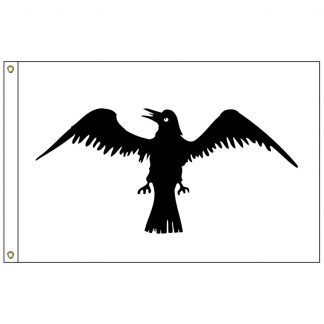 HF-427 Raven 3' x 5' Outdoor Nylon Flag with Heading and Grommets-0