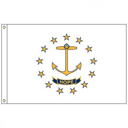 SF-102-RHODEISLAND Rhode Island 2' x 3' Nylon Flag with Heading and Grommets-0
