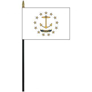 "MRF-46-RHODE ISLAND Rhode Island 4"" x 6"" Staff Mounted Rayon-0"