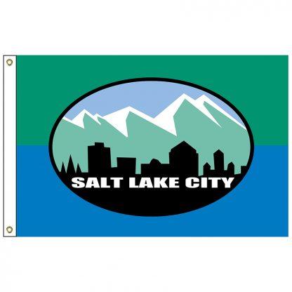 CF-3X5-SALTLAKE Salt Lake City 3' x 5' Nylon Flag with Heading and Grommets-0