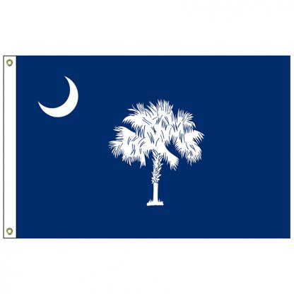 SF-105P-SOUTHCAROLIN South Carolina 5' x 8' 2-ply Polyester Flag with Heading and Grommets-0