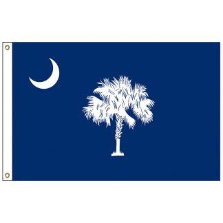 SF-102-SCAROLINA South Carolina 2' x 3' Nylon Flag with Heading and Grommets-0