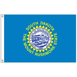 SF-105P-SOUTHDAKOTA South Dakota 5' x 8' 2-ply Polyester Flag with Heading and Grommets-0