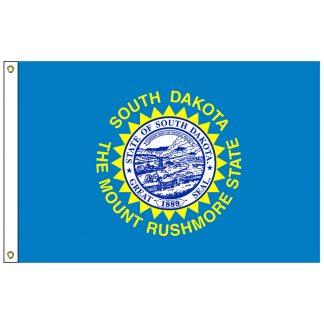 SF-102-SDAKOTA South Dakota 2' x 3' Nylon Flag with Heading and Grommets-0