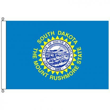 SF-812-SOUTHDAKOTA South Dakota 8' x 12' Nylon Flag with Rope and Thimble-0