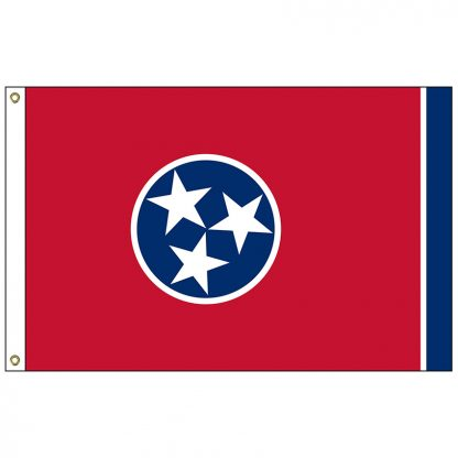 SF-104P-TENNESSEE Tennessee 4' x 6' 2-ply Polyester Flag with Heading and Grommets-0