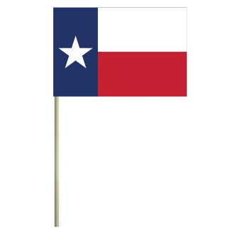 "ECM-46-TEXAS Texas 4"" x 6"" Cotton Stick Flag-0"