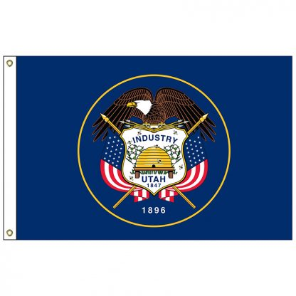 SF-104P-UTAH Utah 4' x 6' 2-ply Polyester Flag with Heading and Grommets-0