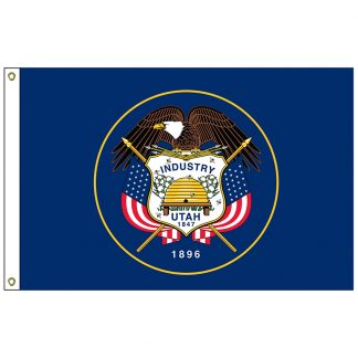 SF-103P-UTAH Utah 3' x 5' 2-ply Polyester Flag with Heading and Grommets-0