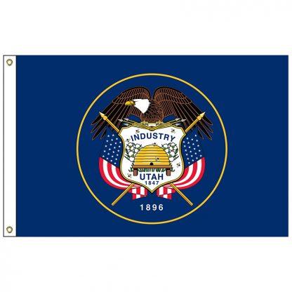 "SF-101-UTAH Utah 12"" x 18"" Nylon Flag with Heading and Grommets-0"