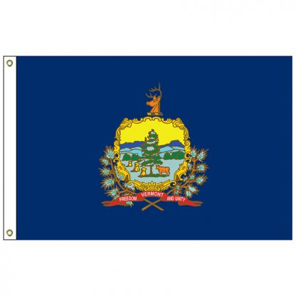 SF-105P-VERMONT Vermont 5' x 8' 2-ply Polyester Flag with Heading and Grommets-0