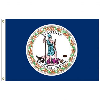 SF-103P-VIRGINIA Virginia 3' x 5' 2-ply Polyester Flag with Heading and Grommets-0