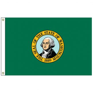 SF-105P-WASHINGTON Washington 5' x 8' 2-ply Polyester Flag with Heading and Grommets-0