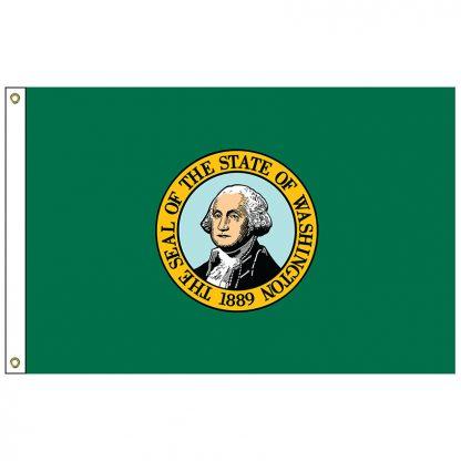 SF-103-WASHINGTON Washington 3' x 5' Nylon Flag with Heading and Grommets -0